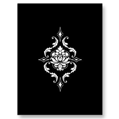 Diamond Damask, White on Black Post Cards from Zazzle.com