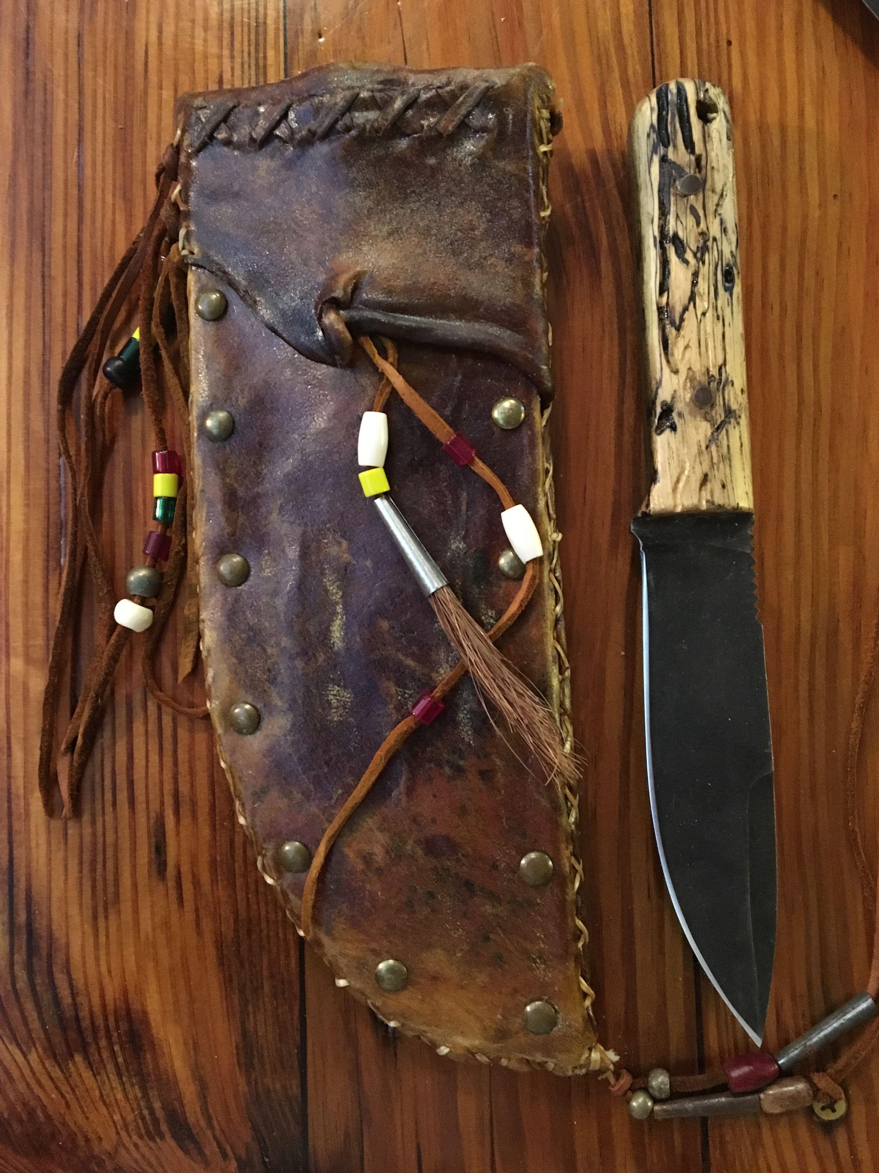 Rawhide Sheath Hickory Handles On Knife Boot Knife