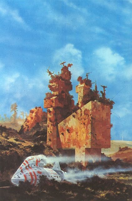 Painting by Chris Foss for City Of Illusions by Ursula K. Le Guin