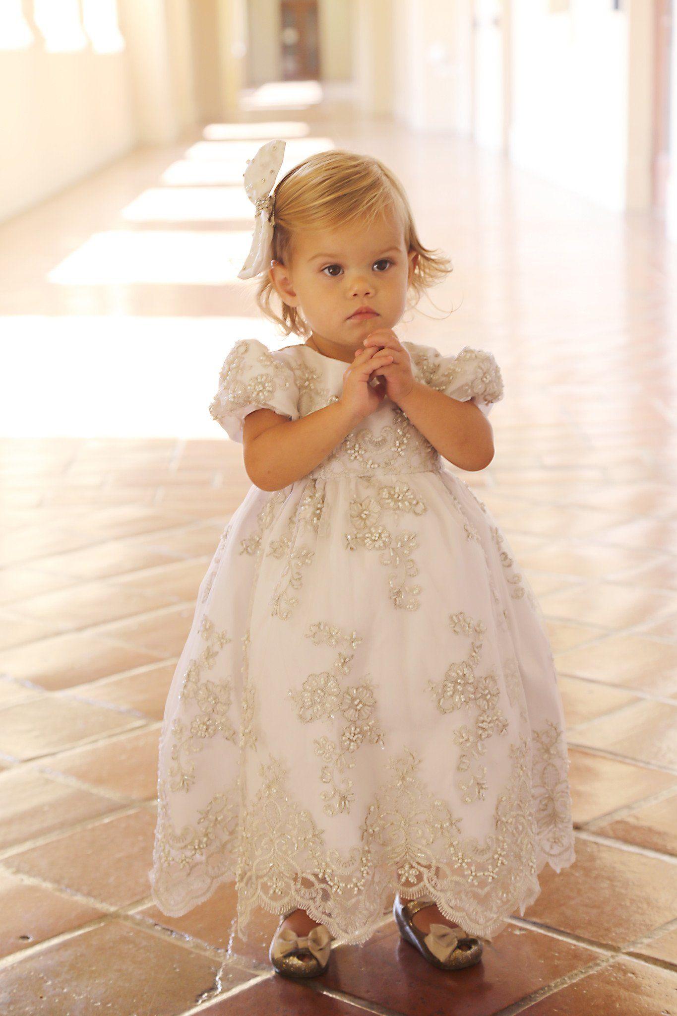 Christening lace dressbaby girl baptismdressflower girl