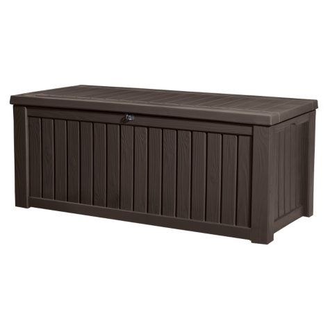 Keter Rockwood 150 Gallon Outdoor Plastic Storage Box Brown Patio Furniture Accessories For New Patio Deck Storage Plastic Decking Patio Storage