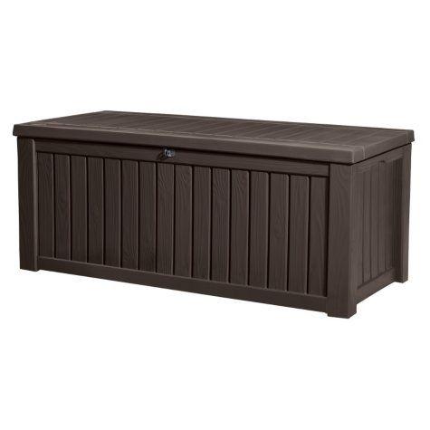 Keter Rockwood 150 Gallon Outdoor Plastic Storage Box Brown