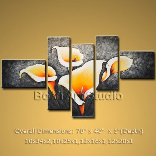 primitive huge multiple panels art paintings on canvas contemporary lily flower 50 x 30 2077 modern_abstract_art artwork everywhere pinterest