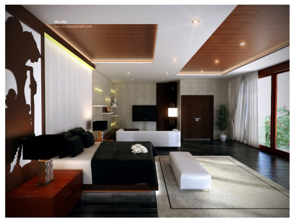 Modern Master Bedroom With Wooden Ceiling Lighting Ideas And Dark