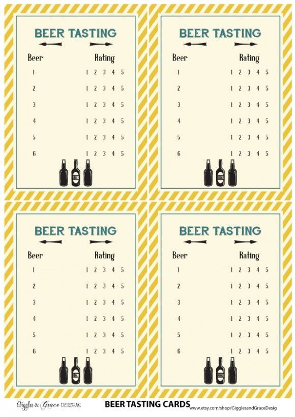 free printables beer tasting cards | Beer Tasting in 2019 ...