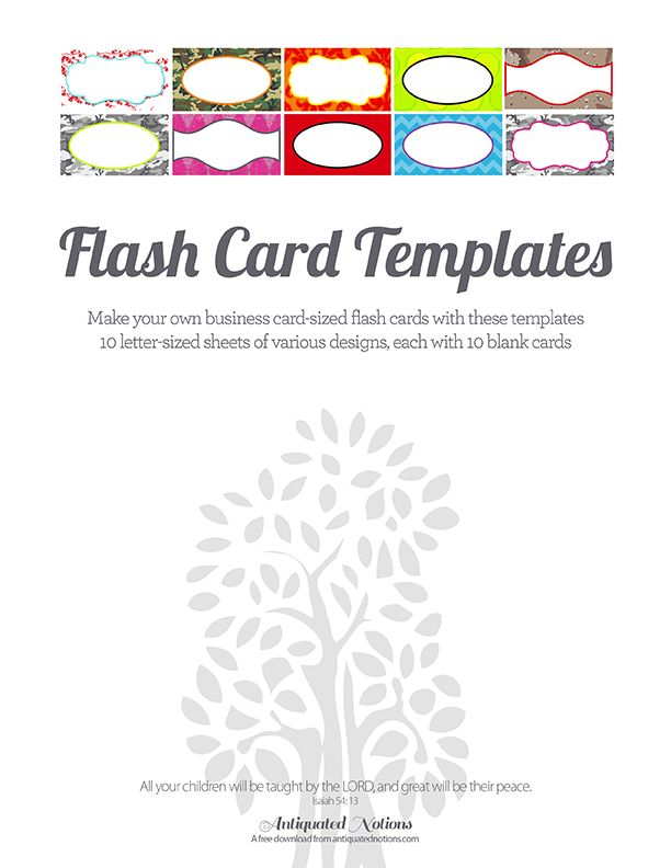 Flash Card Templates From Antiquated Notions  Cc Cycle