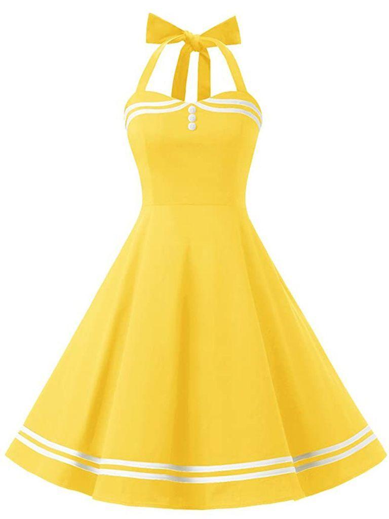 Yellow 1950s Halter Swing Dress Yellow Vintage Dress Vintage Dresses 50s Halter Swing Dress [ 1024 x 768 Pixel ]