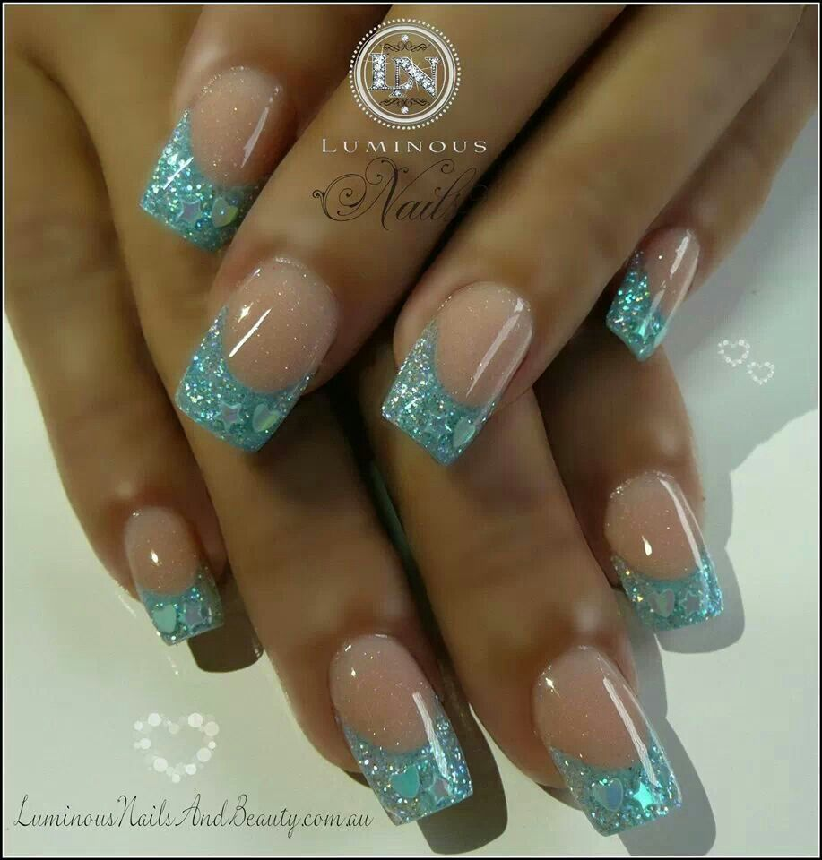 blue acrylic glitter french nails nail art pinterest. Black Bedroom Furniture Sets. Home Design Ideas