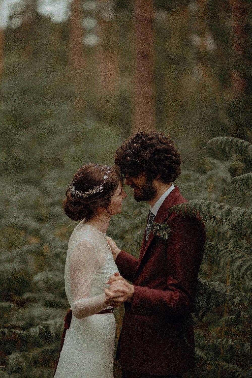 Autumn Dark Red Wedding Belle Art Photography #Autumn #Dark #Red #Wedding #burgundy #forest #woodland #autumnweddingdress