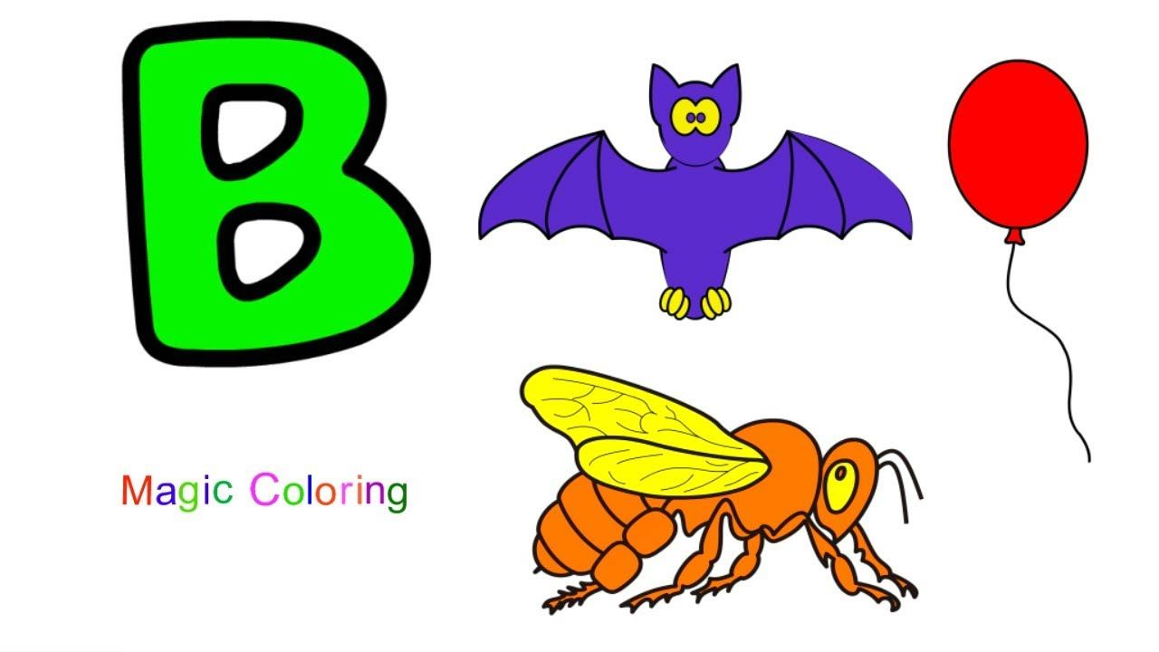 Letter B Learn Alphabet A To Z For Kids Abc Alphabets Drawing And Colo Alphabet Drawing Abc For Kids Learning The Alphabet