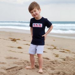 Check out this Boys Navy Blue Seersucker Smock Flag Short Set or find your favorite gifts at Lolly Wolly Doodle. Click on the link to receive $38 off your next order!