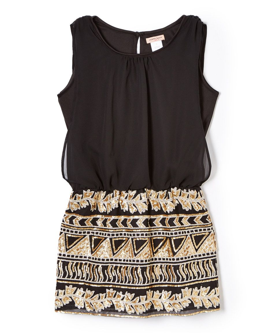 e8deb7a35ce Loving this Nanette Lepore Girls Black & Gold Sequin Sleeveless Dress -  Girls on #zulily! #zulilyfinds