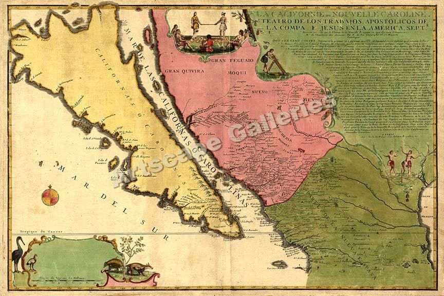 1720 Decorative Wall Map California & New Spain - 16x24 #Vintage ...