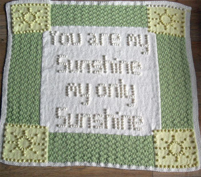 Knitting Pattern For You Are My Sunshine Bobble Baby Blanket Baby