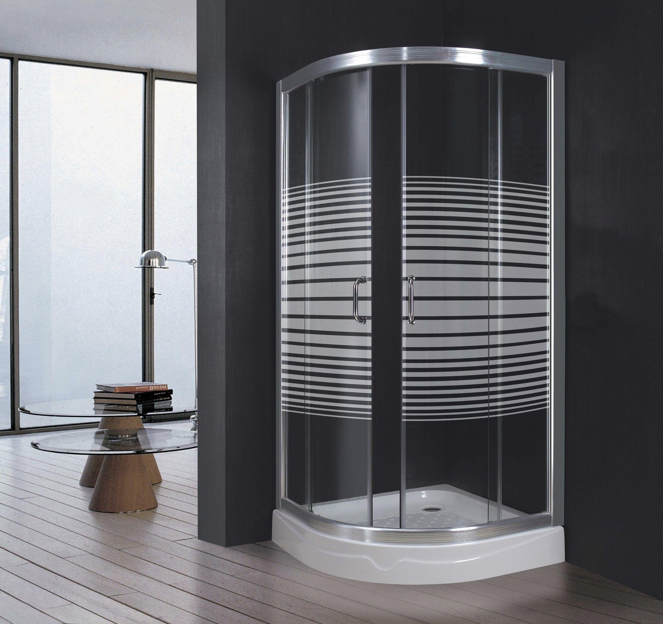 Cabina doccia luxor box 2 ante scorrevoli in vetro serigrafato cm 80x80 semicircolare arredo - Box doccia ante scorrevoli ...