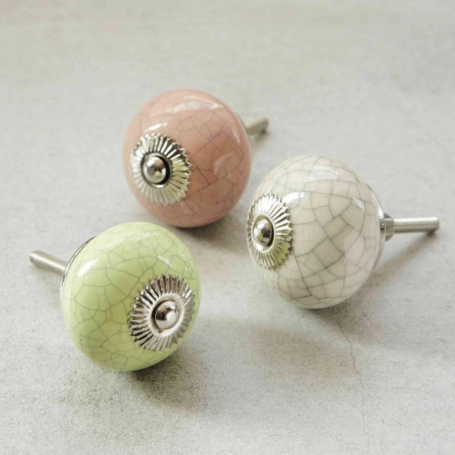 Pink, Green And Cream Crackled Ceramic Knobs | Cupboard door knobs ...