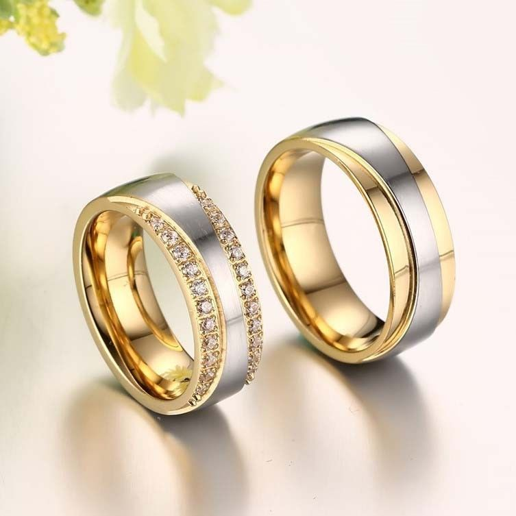 Quality Stainless Steel With Fine Polishing Couple Rings Diamond Engagement Ring Set Couple Ring Design Diamond Wedding Bands