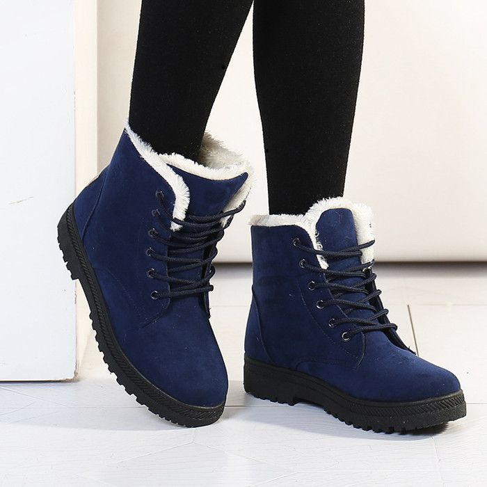Women Genuine Leather Suede Platform Flats Buckle Winter Snow Waterproof Ankle Shearling Boots