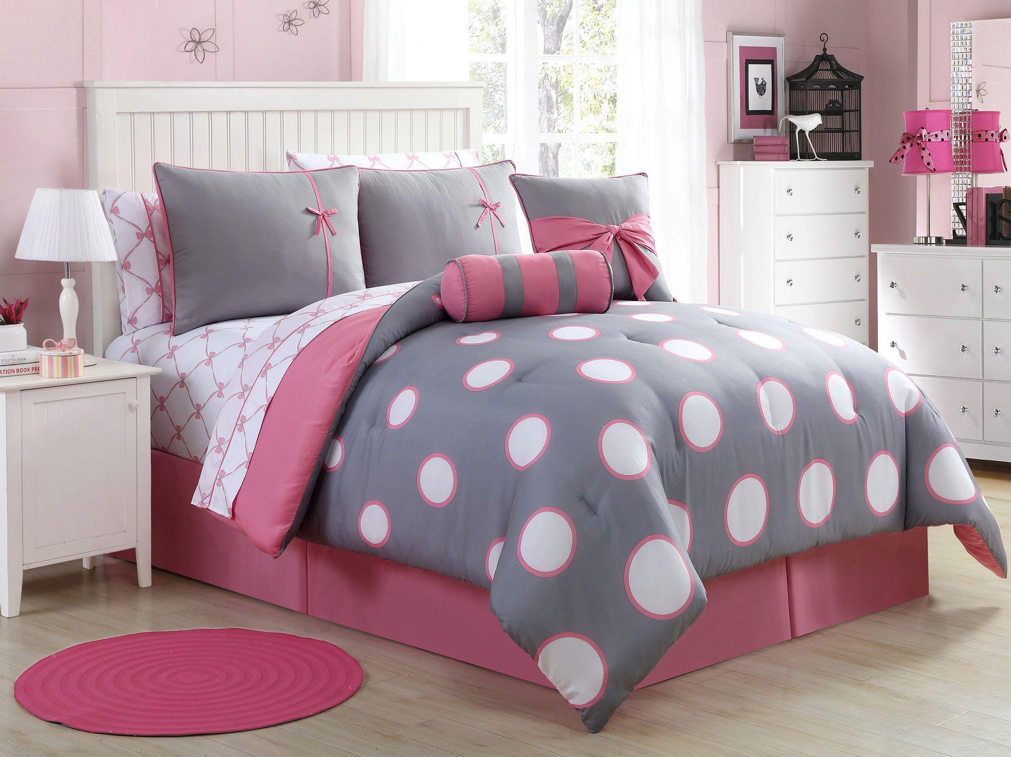 Reversible 2 Side Patterned Polka Dot Or Stripe Bedding Set Duvet Cover Pillow