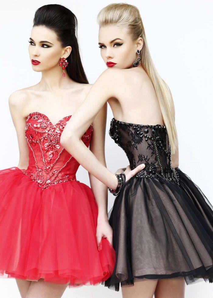 2014 Sherri Hill 21156 Red/Nude Prom Dresses
