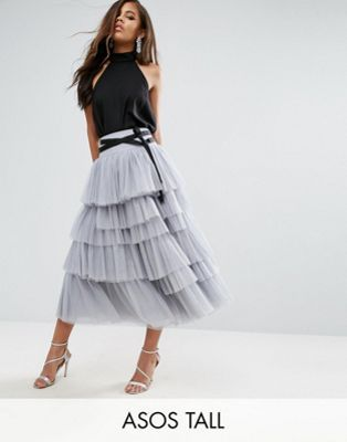 bdd3358006160 TALL Tulle Midi Prom Skirt with Tiers and Tie Waist | outfit list ...