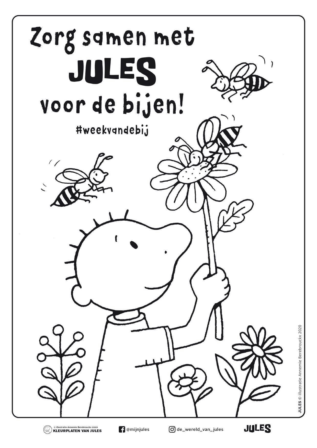 Pin Van Els Van Eetvelde Op Thema Bijen Thema Bloem Kleurplaten Lentebloemen