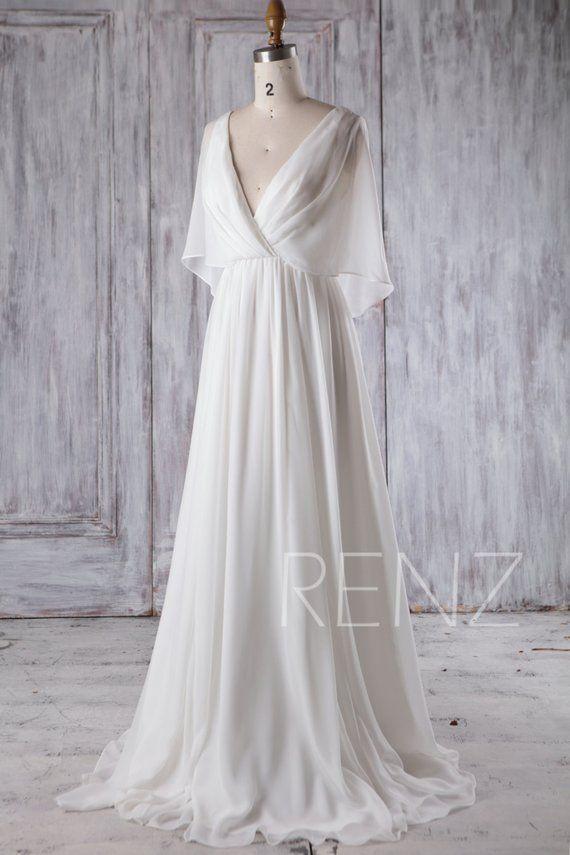 Strand Hochzeit Kleid weiß Chiffon Abendkleid Langarm Kleid einfache Braut Kleider Braut Kleid Bodenlänge (H339A) – New Ideas