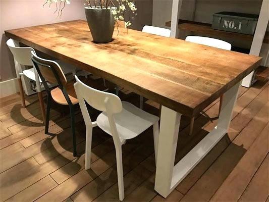 Table Salle A Manger Bois Acier Table Bois Pied Metal Table