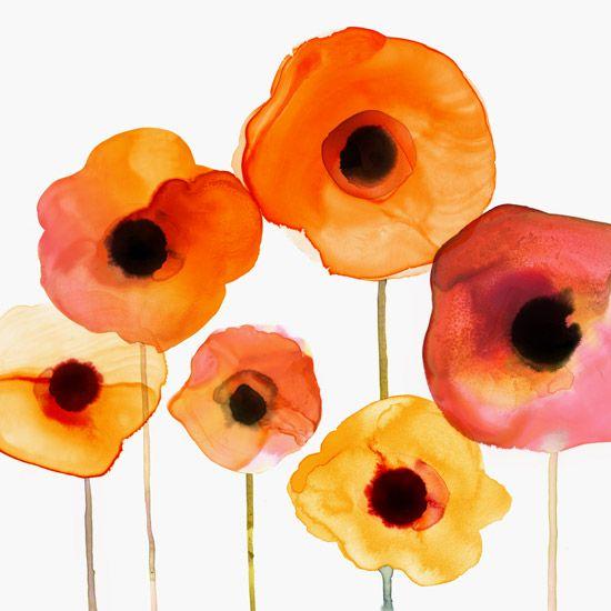 Margaret Berg Art: Orange Poppy Garden