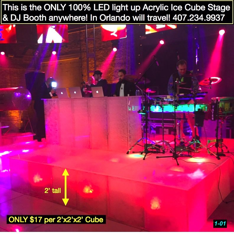 Only Acrylic Ice Led Stages Tables Bars In Florida Draping More Cocktail Table Decor Led Decor Prom Decor