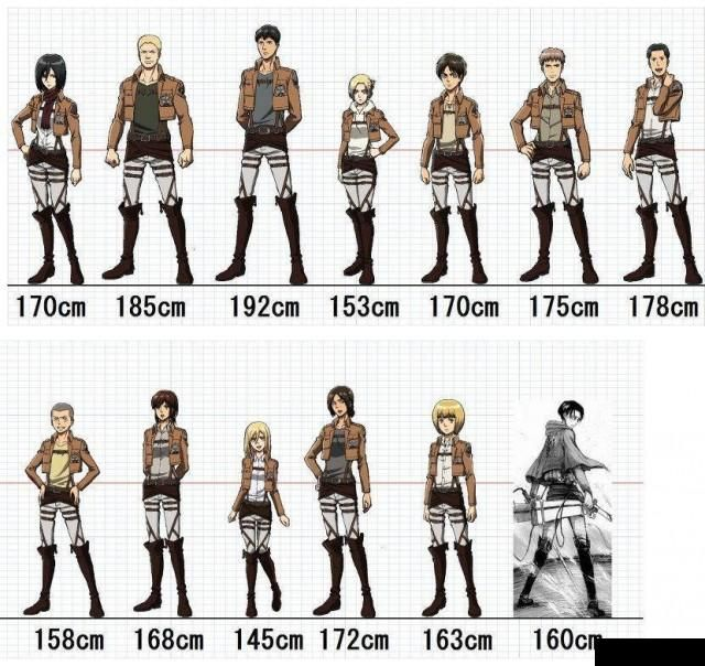 Anime Height Chart Attack On Titain