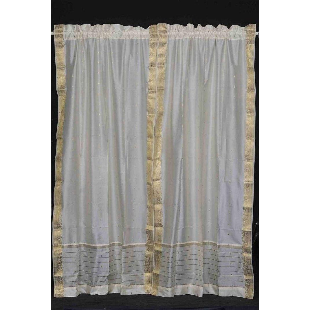 Cream Rod Pocket Sheer Sari Curtain / Drape / Panel