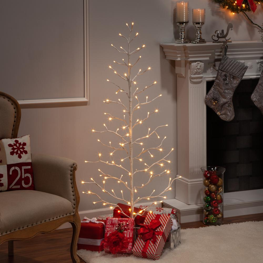 Gerson 5 Ft H White Electric 2 D Tree With Warm White Led Lights