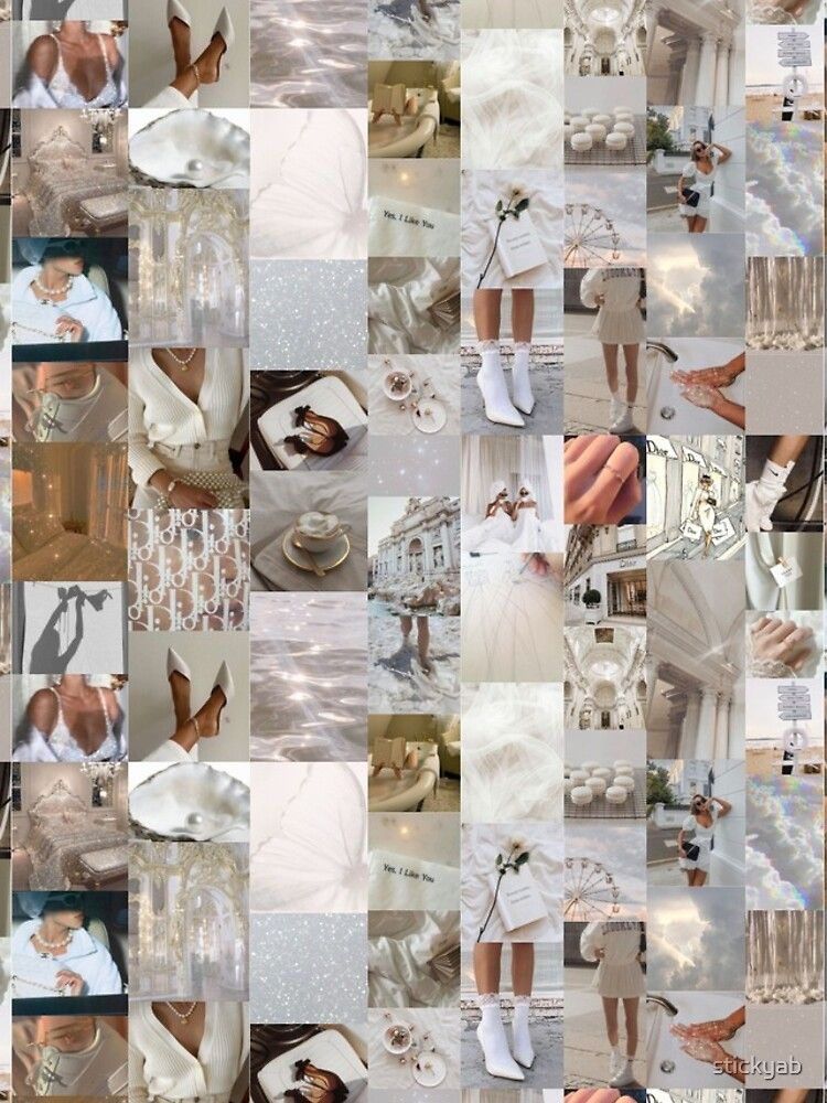 White aesthetic collage iphone case by stickyab in 2020