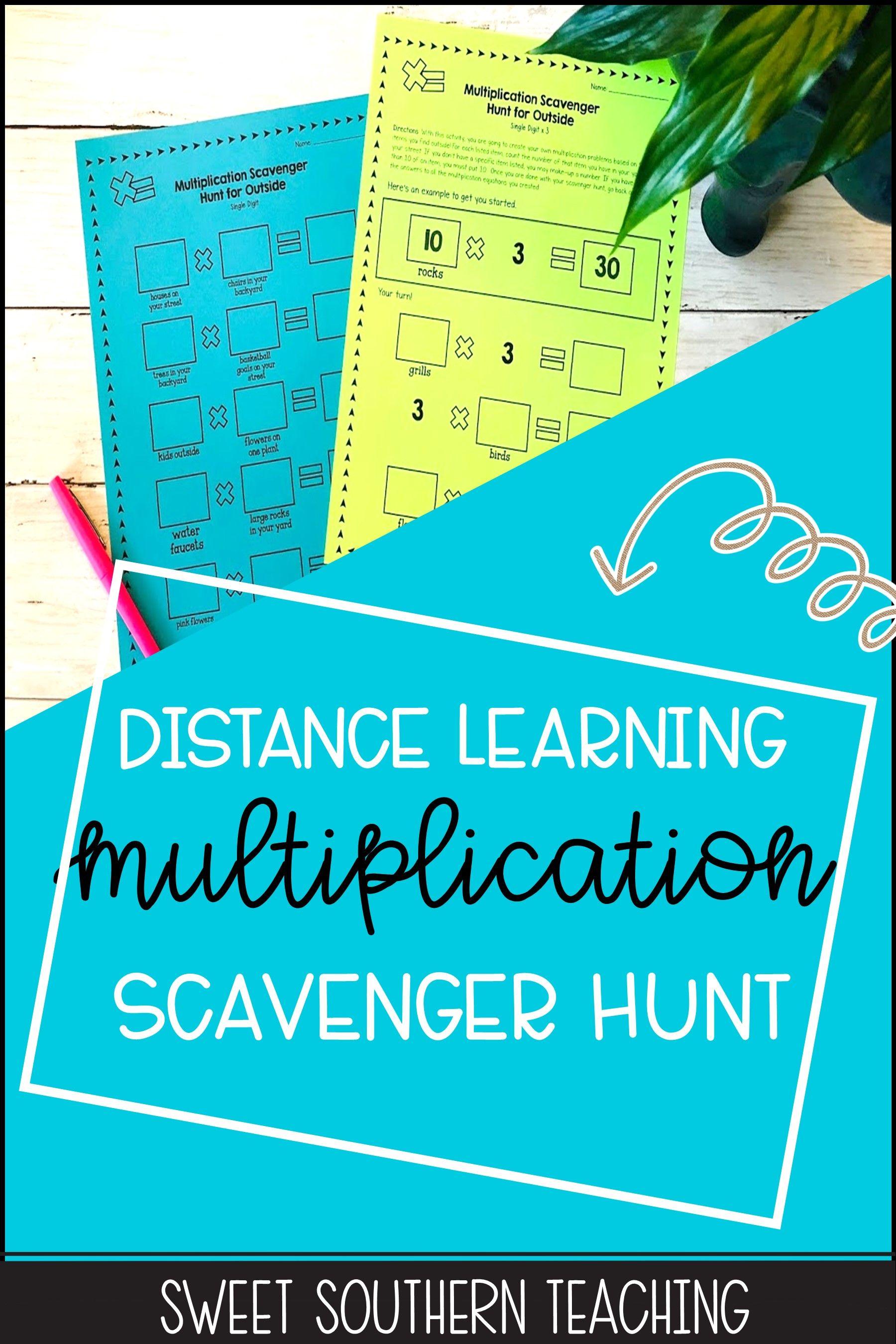 Multiplication Facts Scavenger Hunt For Outside Distance