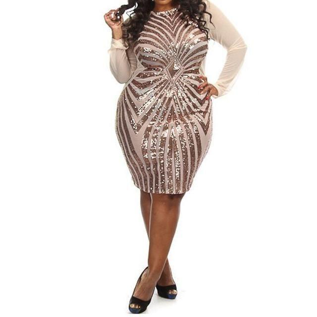 b01c515b9ad TAUPIN AM Plus size gold sequin dress black long sleeve mesh club party  bodycon dress big sizes dresses autumn glitter dress