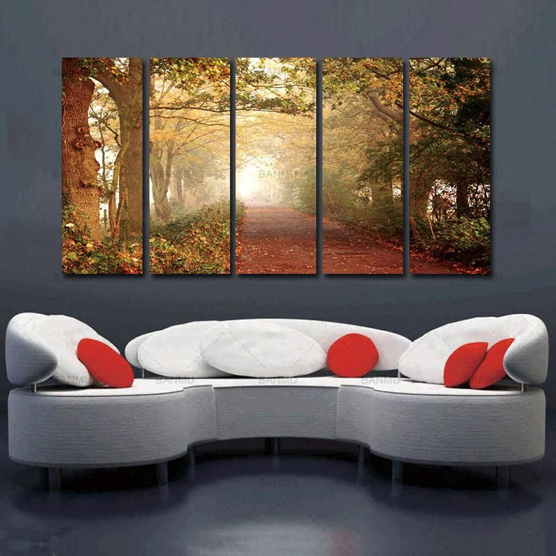 Living room Art wall Forest Decor Landscape Oil painting Picture Print on canvas