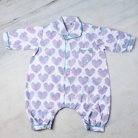 Ikat heart baby suit- new to our website! #ecru #baby #lilones #heart #ikat #design #decor #inspiration