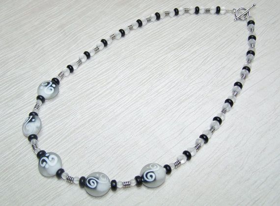 Black and white lampworked glass and glass with by beadhobby, $28.50