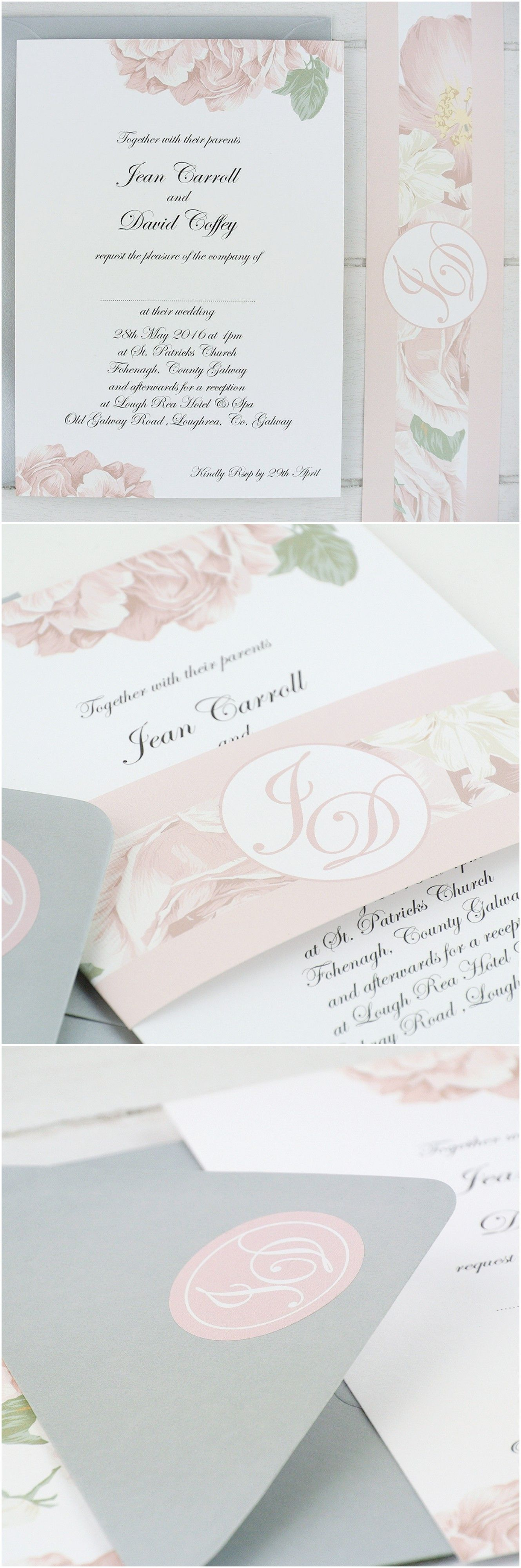 Blush pink peony rose wedding invitation with personalised wedding ...