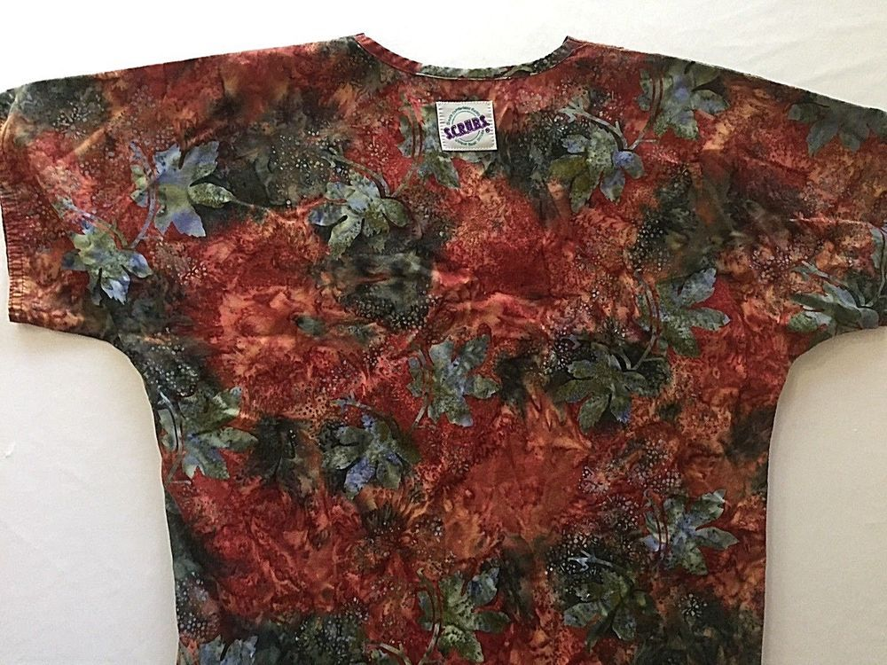 8d3f7d3f0b3 XS Fall Batik Leaves Autumn Scrub Top Nurse Scrubs Medical Extra Small  Cotton #SCRUBS