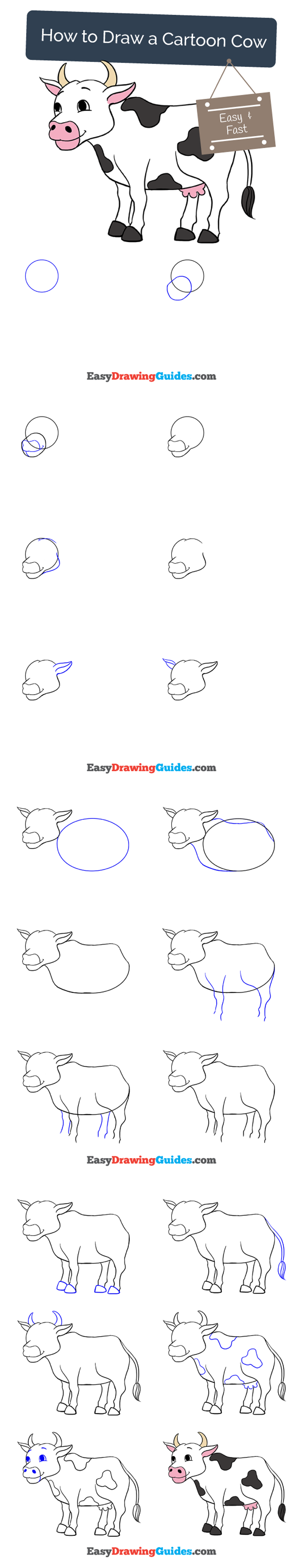 How to Draw a Cartoon Cow in a Few Easy Steps | Easy ...
