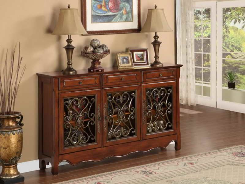 "Entrance Tables Furniture powell furniture 3-door scroll console table- 246-335the ""walnut"