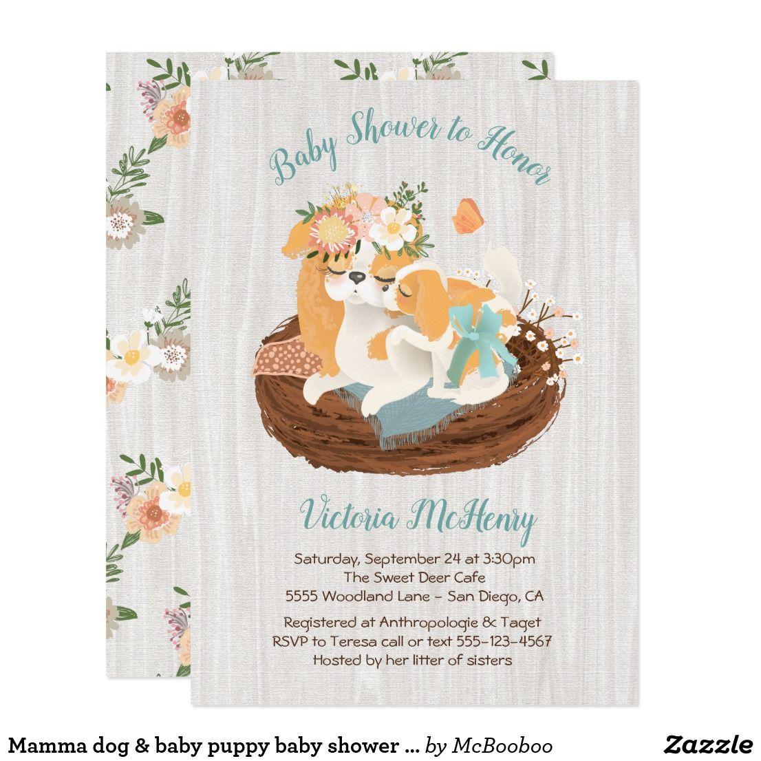 Mamma dog & baby puppy baby shower invitations | Shower invitations