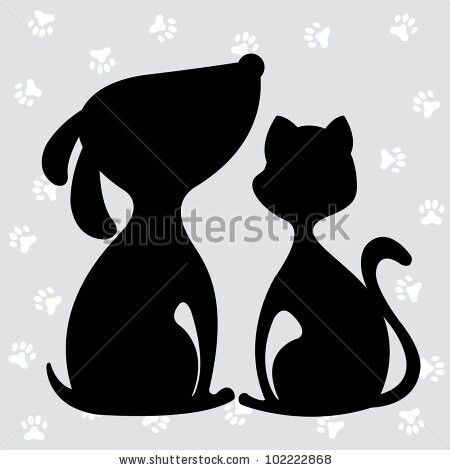 Silhouette dog and cat