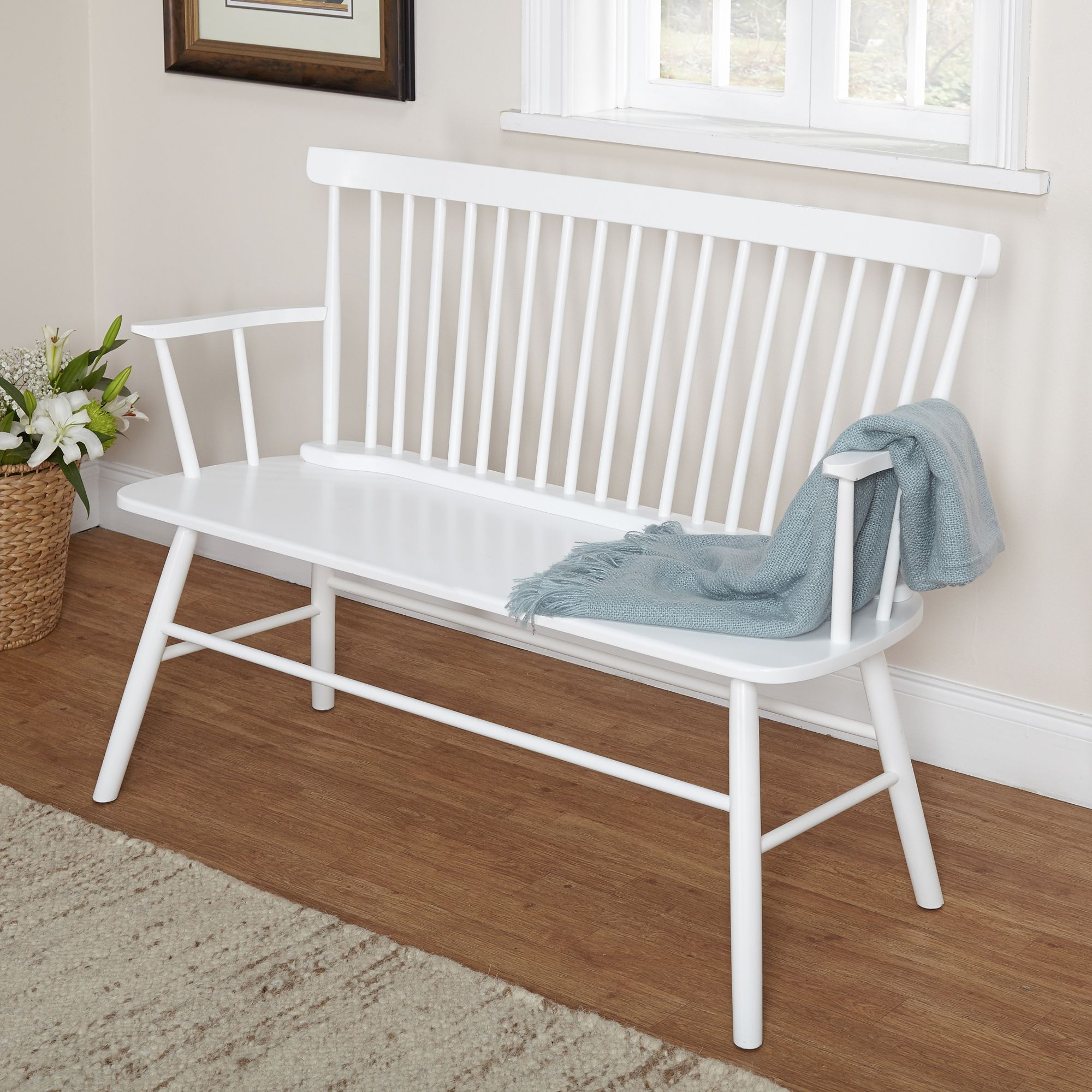 Simple Living Rubberwood White Shelby Dining Bench By