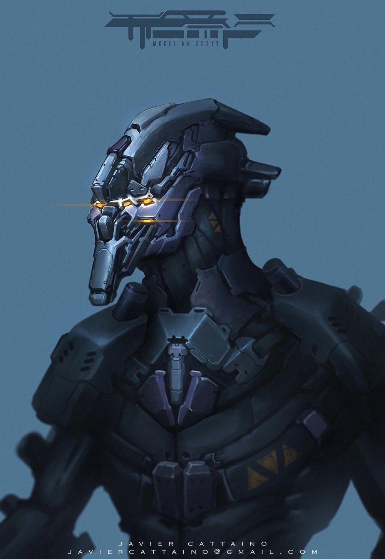 Cyborg Prototype. Concept Art, Javier Cattaino on ArtStation at https://www.artstation.com/artwork/rK425