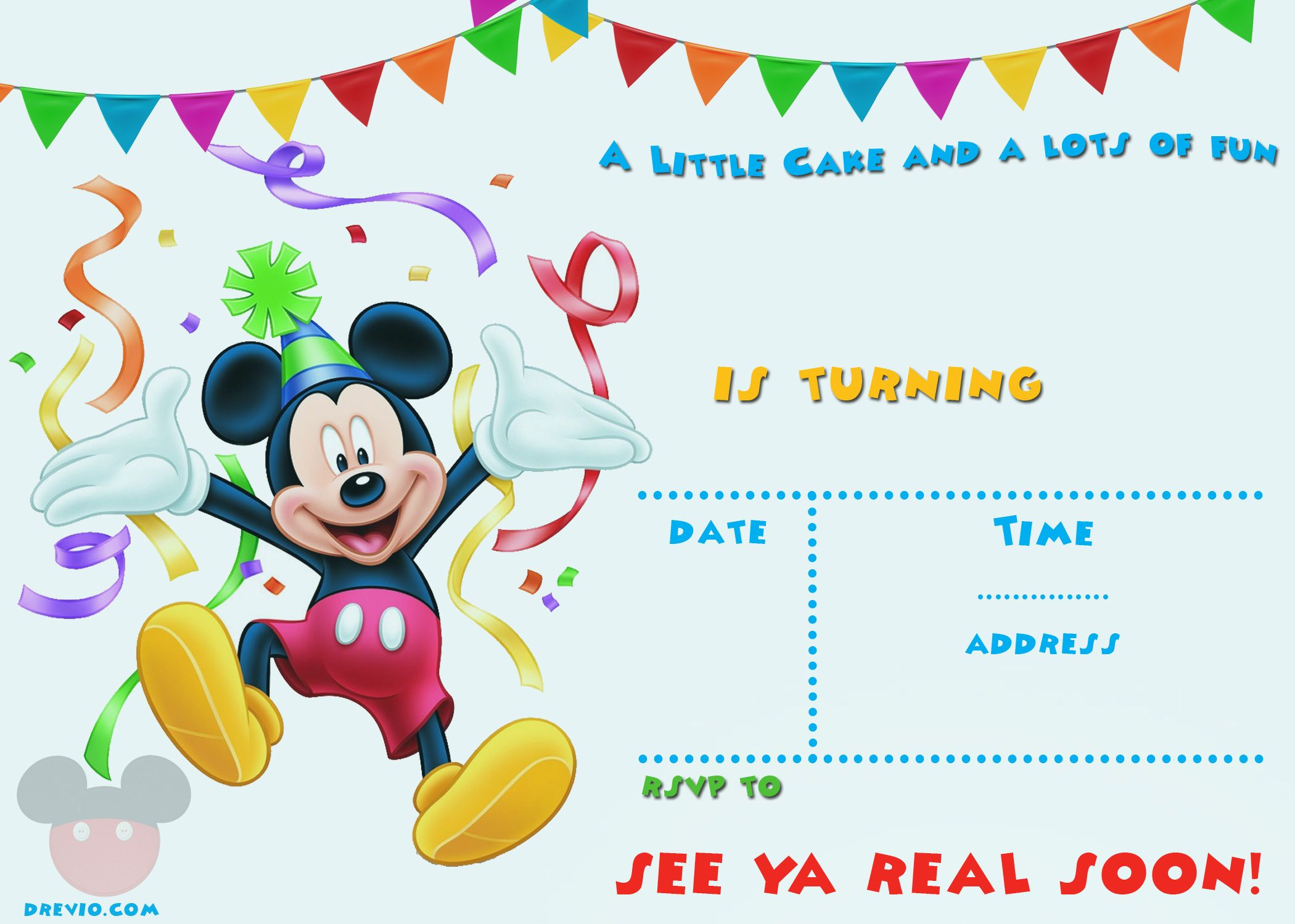 photo relating to Free Printable Mickey Mouse 1st Birthday Invitations called Free of charge Printable Mickey Mouse Occasion Invitation Template Free of charge