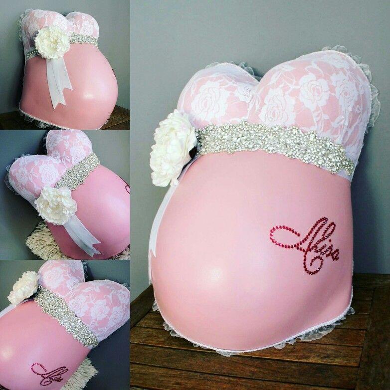 Rosa Babybauchabdruck mit Glitzergürtel