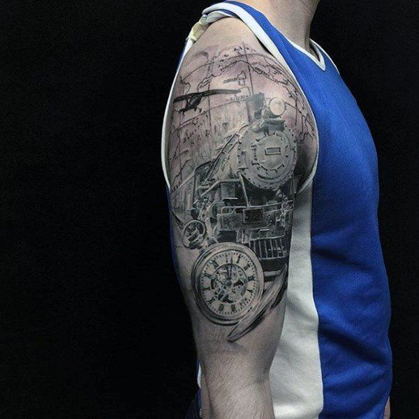 200 popular pocket watch tattoo and meanings 2017 for Mens upper arm tattoos